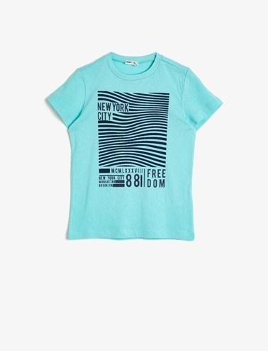 Koton Kids Yazili Baskili T-Shirt  Yeşil